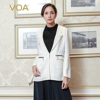 VOA 2017 Fall Fashion High Quality Solid White Brief Heavy Silk Business Suit Plus Size Women Formal Zipper Jacket WSH00301