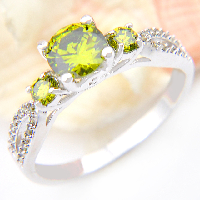 Promotion Trendy Family Gift Classic Fire Drop Peridot Silver Plated