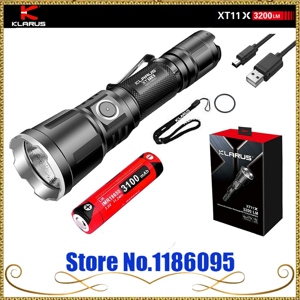 Klarus XT11GT Version Améliorée XT11X 3200 Lumens CREE XHP70.2 P2 LED 18650 Rechargeable Tactique lampe de Poche Puissante