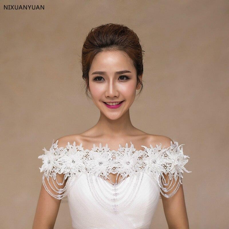 Bateau dentelle Floral cristal strass perlé Bling enveloppes de mariée ivoire dentelle mariage châle veste boléro Wrap mariée veste de mariage