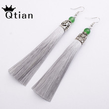 Купить с кэшбэком Qtian Boho Tassel Earrings Vintage women's earrings 2019 Long Drop Earrings Wedding Ethnic Jewelry Handmade Fringe Pendant