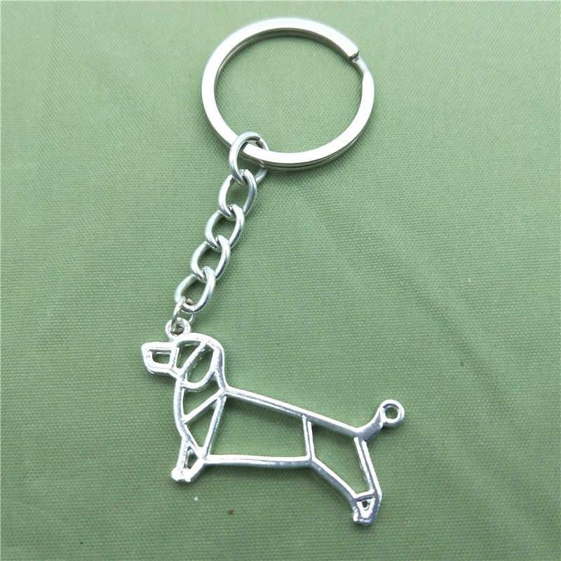 New Dachshund Key Chains Thời Trang Geometric Đồ Trang Sức Dachshund Xe Keychain Bag Keyring Cho Phụ Nữ Người Đàn Ông