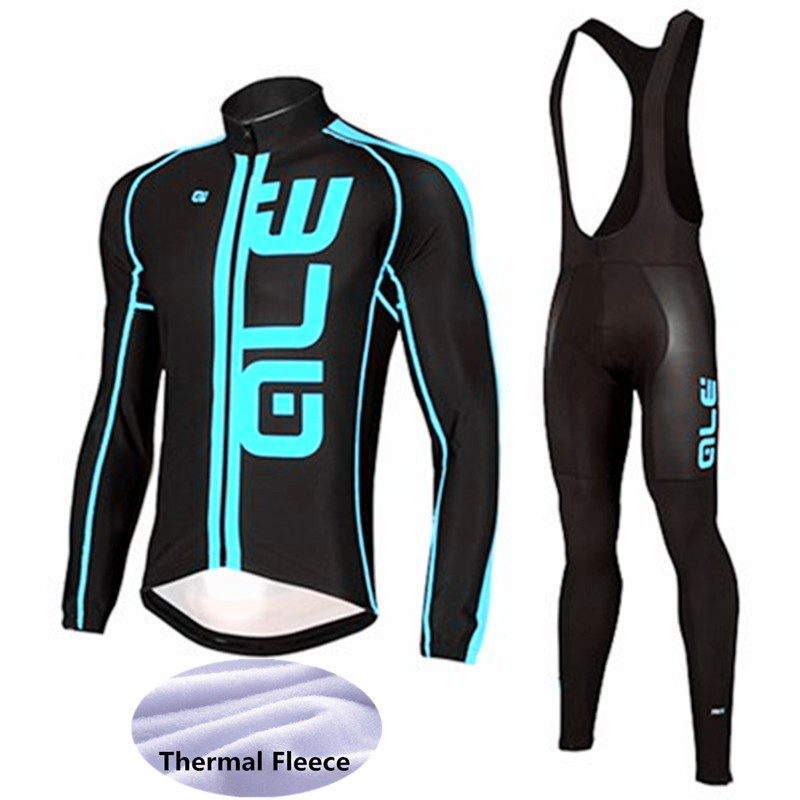 Hot Men's (Black & Blue) Thermal Fleece Cycling Jersey . Long Sleeve  Pro Bicycle Cycling Clothing Bike Wear . Gel Pad . black thermal fleece cycling clothing winter fleece long adequate quality cycling jersey bicycle clothing cc5081
