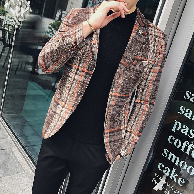 Casual suit male Slim Korean version of the spring new wild grid men's small suit handsome British jacket trend