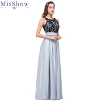 Clearance Sale ! In stock Women Elegant Long Pleated Evening Dresses Satin Lace A line Backless Formal Evening Prom Party Gowns