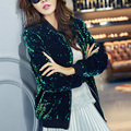 Sequins embroidery baseball jacket with velvet  female costume sexy costume for singer dancer star nightclub performance show