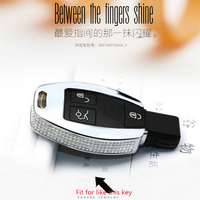 Diamond Zinc Alloy Leather Car Key Bag Case Cover Key Holder Chain For Mercedes Benz