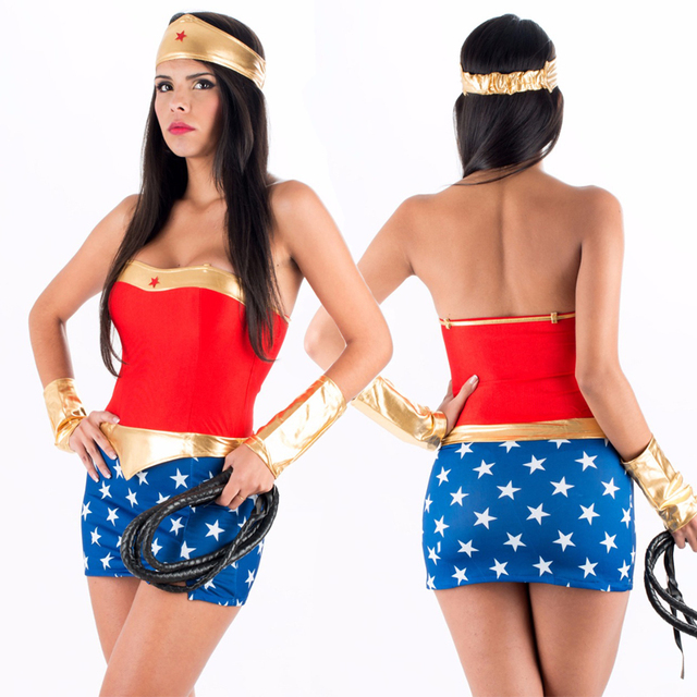2017 hot sale high quality halloween costumes women fantasias party superhero sexy wonder woman costume plus - High Quality Womens Halloween Costumes