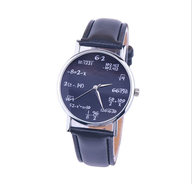 New Novel Mathematical Calculations Women Fashion Popular Leather Strip Wristwatch Dress Leather Watches Quartz Relogio Clock