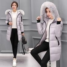 Winter coat woman 2017 New sell warm parka jacket Women Fur collar Thick hooded plus size Long setion jacket Coat стоимость
