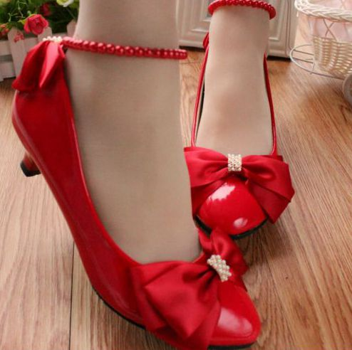 ФОТО Red small low heel bow pumps shoes for women, custom made middle high heels wedding party dress pumps shoes. TG014 anklet pearl