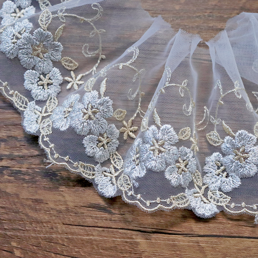 1yard 8.5cm White Lace Trim Ribbon Single Side Embroidery Lace Fabrics Sewing Accessories Wedding Dress Home Textile Supplies