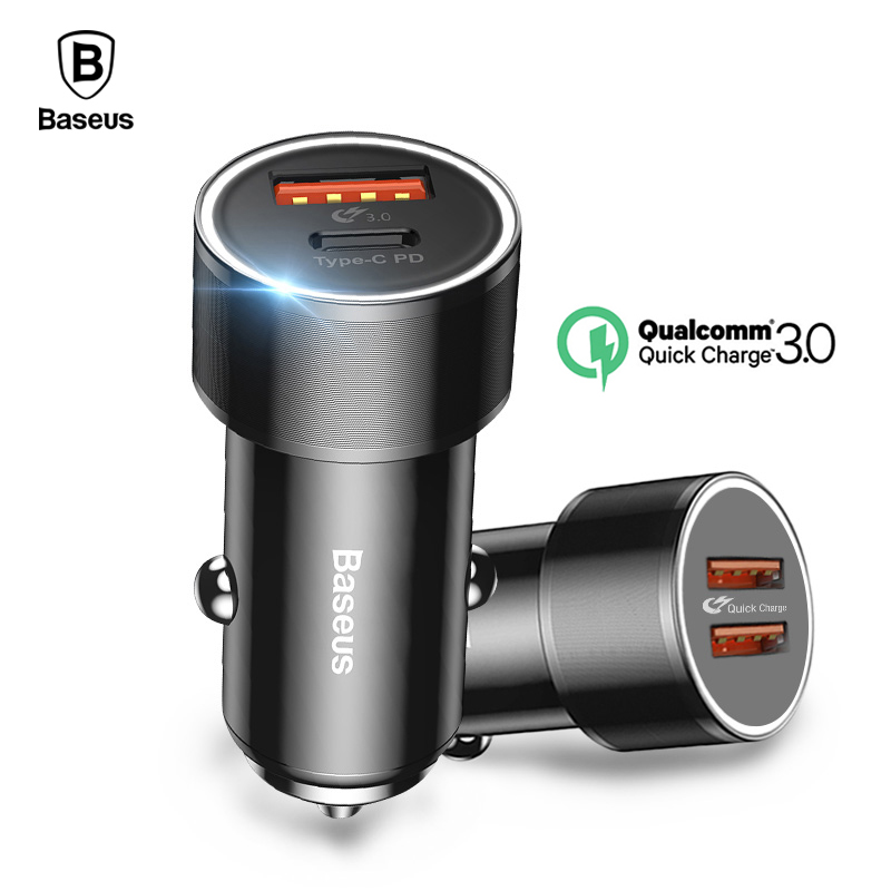 Baseus 36 w cargador de coche USB carga rápida QC 3,0 tipo C PD rápido cargador de teléfono móvil para el iPhone X 8 Samsung Xiao mi carga del coche