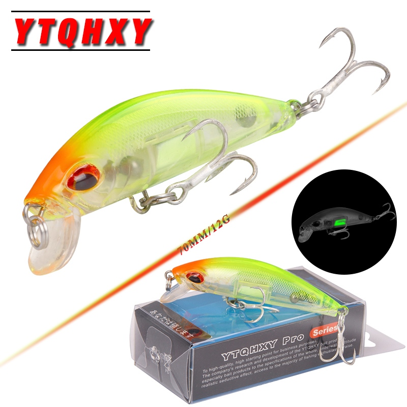 YTQHXY Sinking Minnow Lure 70mm 12g Hand Artificial Luminous Bait Sea Pike Fishing Wobblers 2017 Model Crank Bait YE-90 4pcs fishing lure minnow wobblers hard bait with hook artificial lures for pike sinking peche tackle wobbler sea 13cm fish set