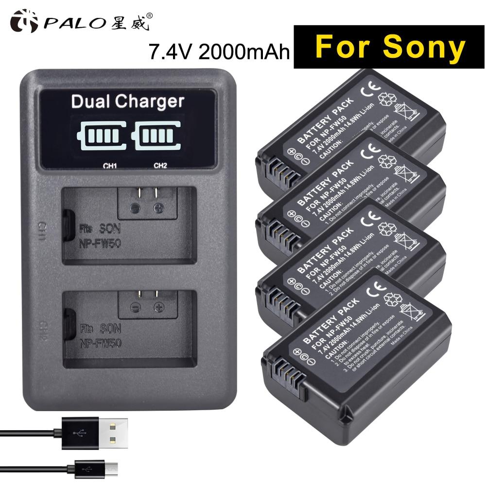 PALO 4 pcs NP-FW50 appareil photo numérique Batterie 2000 mah FW50 AKKU + LED Double Chargeur pour Sony a6500/6300 a7SM2 RX10 II NEX-3/3N/5C/5 t/CD