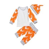 Newborn Baby Boy Girl Clothes Set Autumn Xmas Long Sleeve T Shirt Tops Deer Pants Hat
