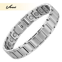 2016 Magnetic Men Stainless Steel Bracelet 22pcs Magnets Silver Hong Kong Post Free Shipping Health Bio