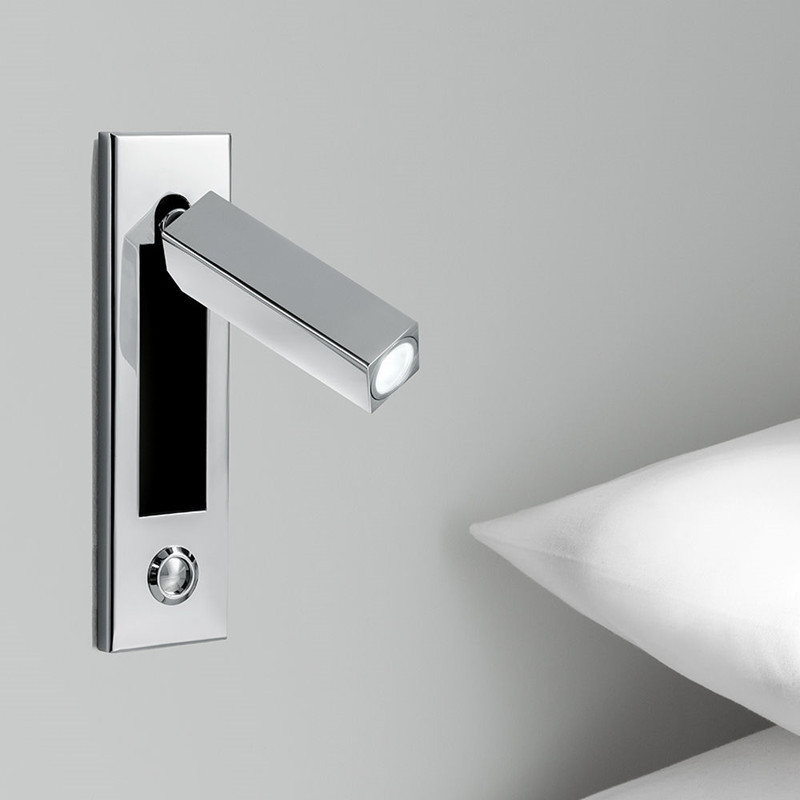 Topoch Bedside Wall Lights Semi Recessed Touch ON/OFF/Dimmer Switch Chrome Finish Head Swivels 90 Degree Left/Right or Forward