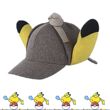 Cool Movie Pokemon Pikachu Plush Detective Hat With 3D Ears Cosplay Role Play Baseball Cap Toys Gift Adjustable Size