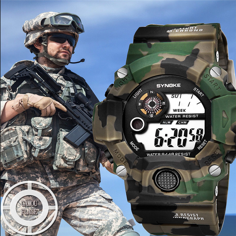 Watches Men Digital Watch Men's Multi Function Army Military Watches Sports LED Digital Dual Movement Wristwatch