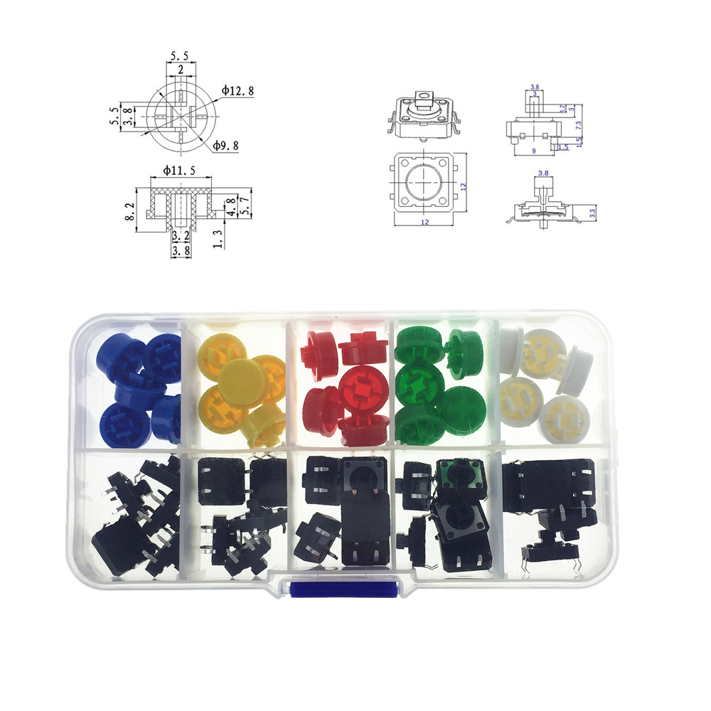 25PCS Tactile Push Button Switch Momentary 12*12*7.3MM Micro Switch Button + 25PCS Tact Cap(5 colors) with Plastic Box 100pcs mini micro momentary tactile tact switch push button dip p4