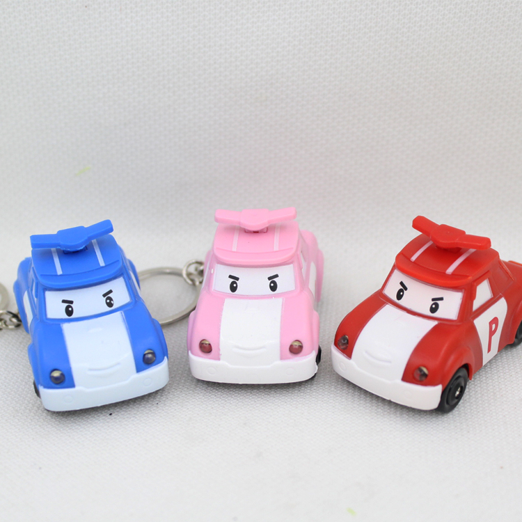 New arrive popular toy Poli car LED keychain with sound,flashlight keyrings,Children gift