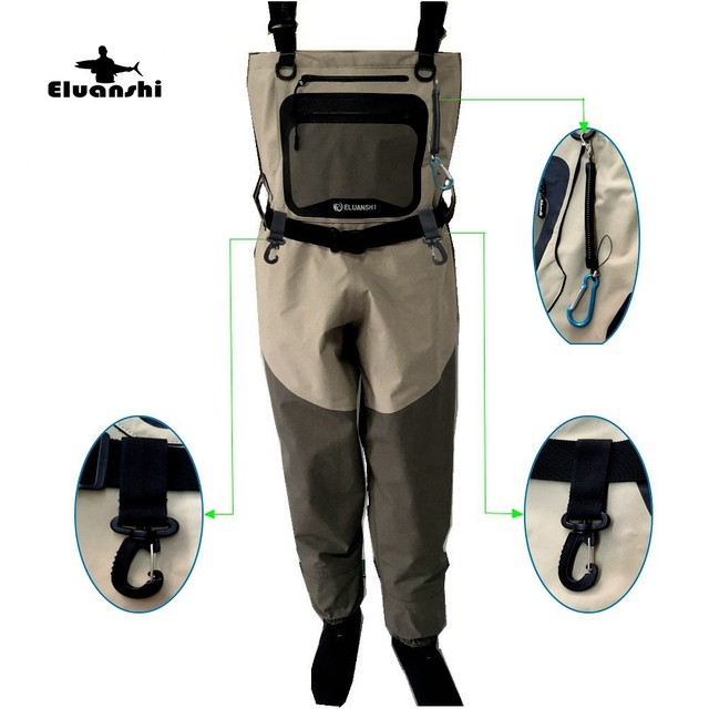 fishing waterproof Breathable Wear-resisting Fast drying fly wader hunting wading pants foot ELUANSHI brand