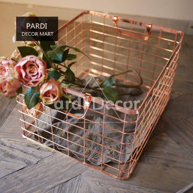 Chaude D'or/or rose couleur panier À Linge/articles divers boîte de rangement/magzine panier 1 pc/lot