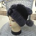 Winter fur hat for women real rex rabbit fur hat with silver fox fur flower knitted beanies 2016 new sale high-end women fur cap