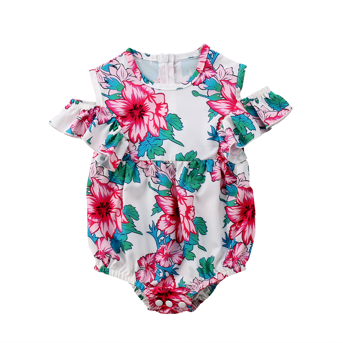 Kids Baby Girls Floral Short Sleeve Romper Jumpsuit Casual Outfit Clothes Summer Baby Rompers