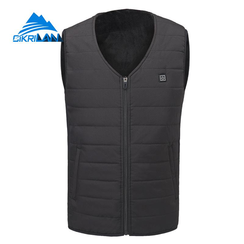 Mens Winter Outdoor Hiking Trekking Quilted Insulated Heated Vest Warm Camping Sport Waistcoat Heating Fishing Photography Gilet