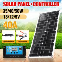 50/40/35W Solar Panel Solar Cells Poly Solar Panel double USB Output 40A controller for Car Yacht 18/12/5V Battery Boat Charger