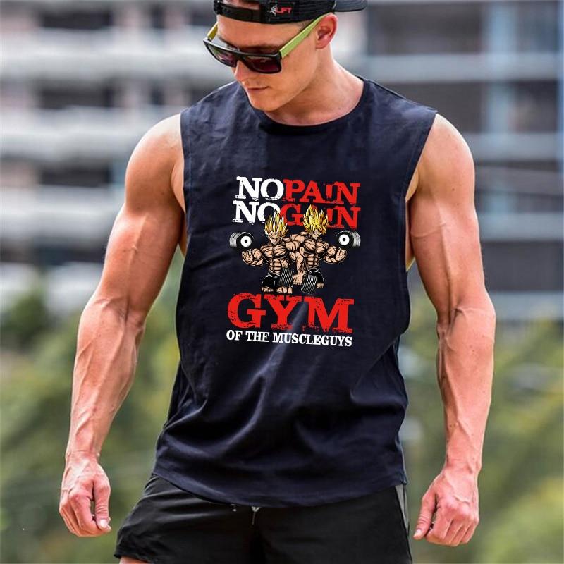 Mens Bodybuilding Dragon Ball Tank Top Gyms Fitness Loose Cotton Sleeveless Shirt Anime Clothing Stringer Singlet Male Vest