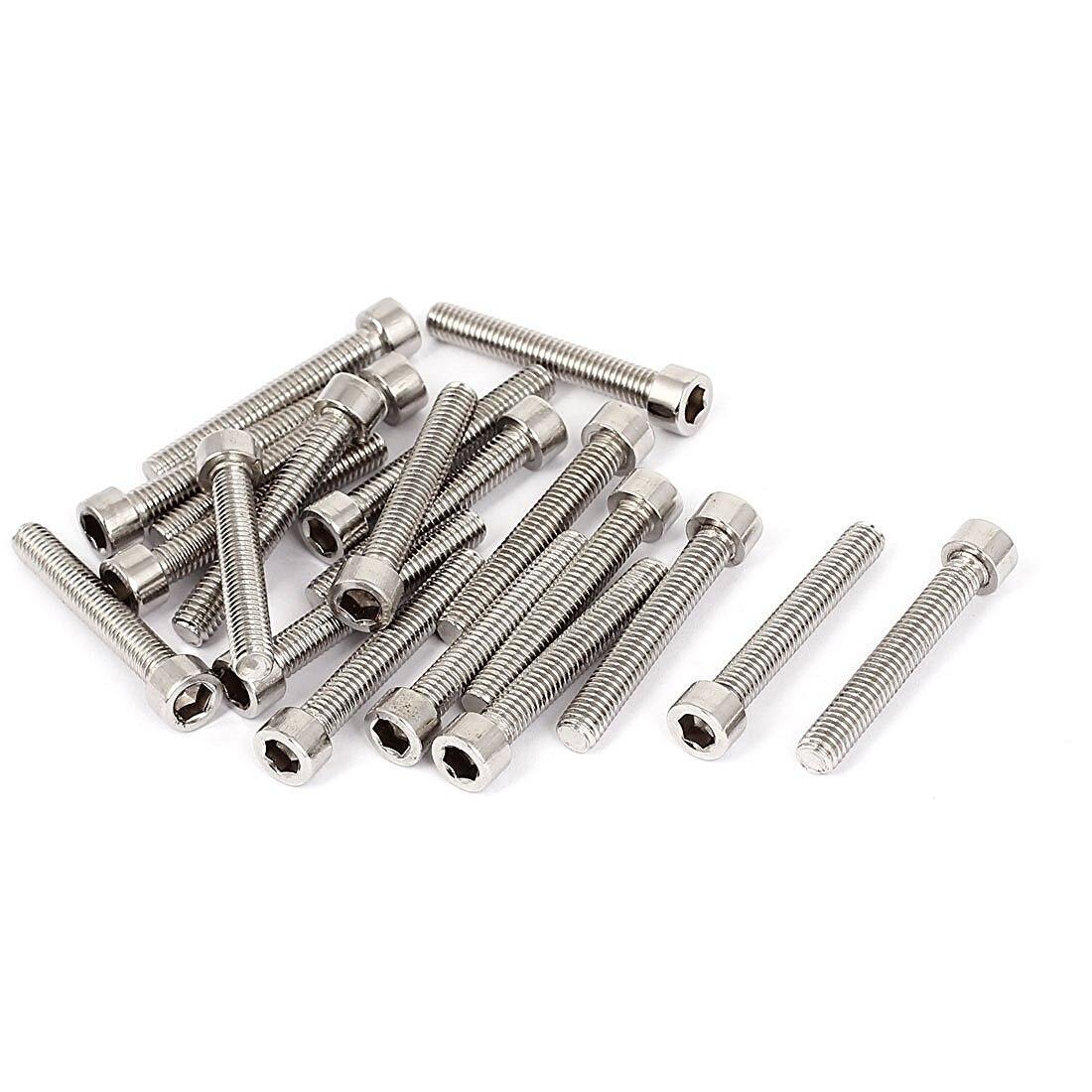 M6x40mm Stainless Steel Hex Socket Head Cap Screws Bolts DIN 912 20pcs 20pcs m3 6 m3 x 6mm aluminum anodized hex socket button head screw