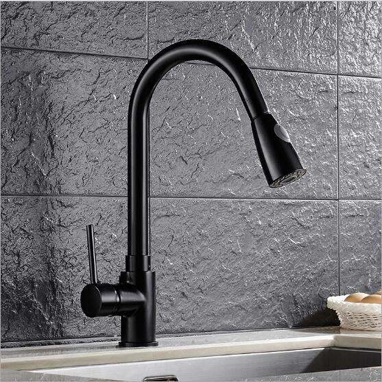 Free Shipping Luxury Black Pull Down Kitchen Faucet New Arrival Solid Brass Swivel Pull Out Spray Sink Mixer Tap Water tap newly arrived pull out kitchen faucet gold sink mixer tap 360 degree rotation torneira cozinha mixer taps kitchen tap