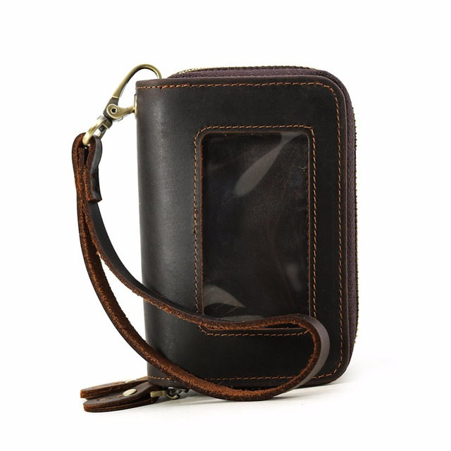 3e786d6d354a TIDING Men Real Leather Purse Credit Card Car Key Holder Fashion Large Multifunctional  Wallet Coin Brown 9201FS