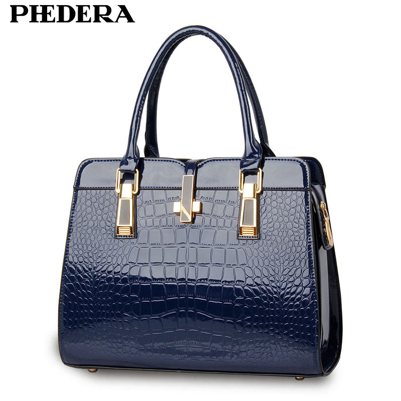 PHEDERA Brand Fashion Alligator Women Leather Handbag Luxury Crocodile Pattern Female Hand Bag Designer Blue/Black Ladies Bags 2018 yuanyu 2016 new women crocodile bag women clutches leather bag female crocodile grain long hand bag