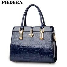 PHEDERA Brand Fashion Alligator Women Leather Handbag Luxury Crocodile Pattern Female Hand Bag Designer Blue/Black Ladies Bags