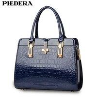 PHEDERA Fashion Alligator Women PU Leather Handbag Luxury Crocodile Pattern Female Hand Bag Designer Blue/Black Ladies Bags