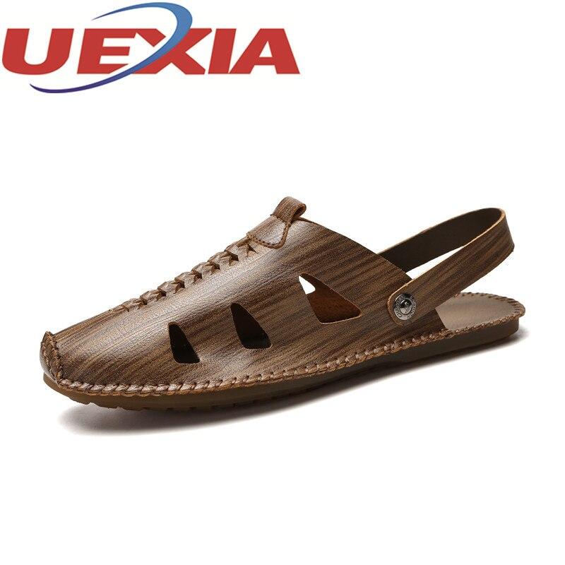 Mens Summer Sandals Outdoor Breathable Slides Pu Leather Shoes Men Casual Beach Sandalias Men Slip On Shoes Flip-Flops Zapatos