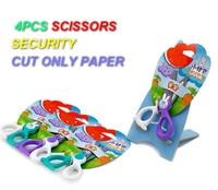 Amazing 4PCS/set Security SCISSORS toys Cut only papper tools cute plastic garden tool toys shears DIY