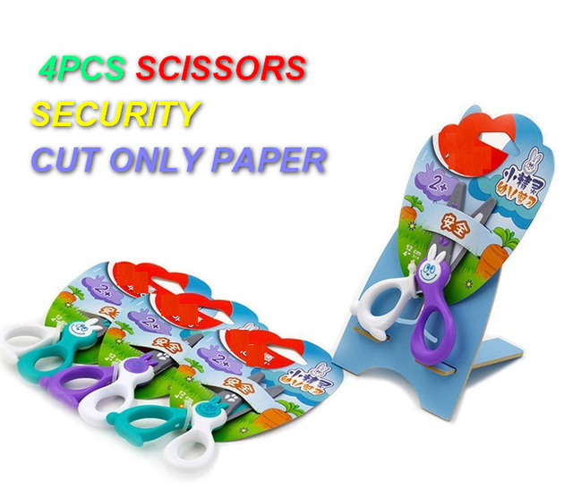 Amazing 4PCS/set Security SCISSORS Toys Cut Only Papper Tools Cute Plastic Garden  Tool Toys
