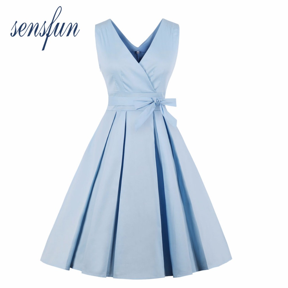 Sensfun 2018 Blue Summer Dress V Neck Women Cotton Hepburn Robe Vintage Dress Vestidos Retra Party Dresses Sundress Plus Size