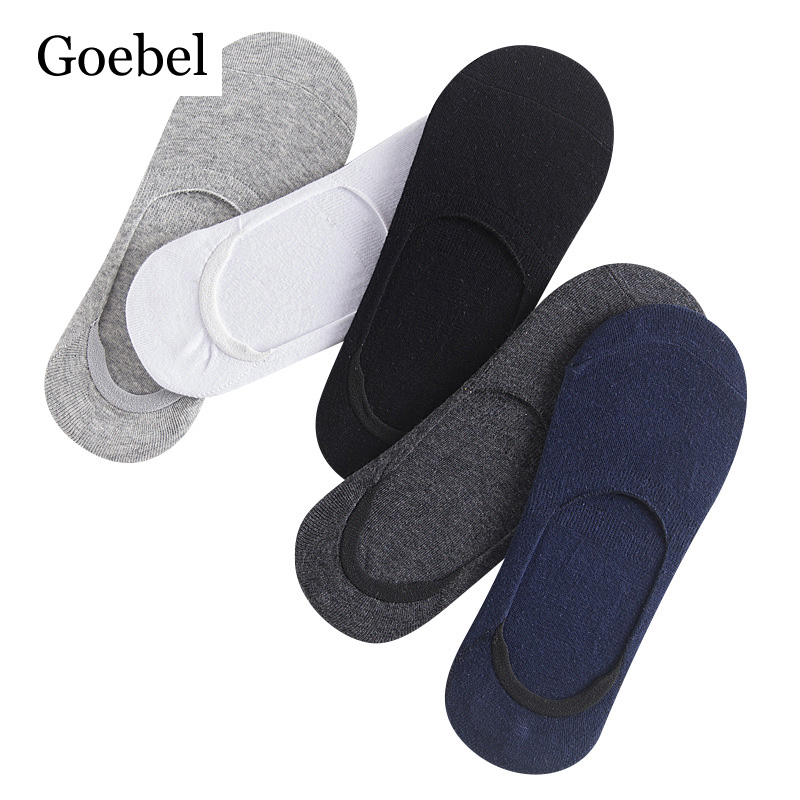 Goebel Cotton Invisible Socks Men Casual Comfortable Man Solid Color Boat Socks Shallow Mouth Non-slip Male Socks 3pairs/lot