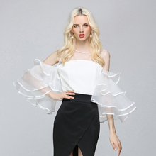 Novelty Blouse Women Mash Spliced O-Neck butterfly Sleeve 3 Colors Solid Party Clothing Elegant Style New Fashion 2017