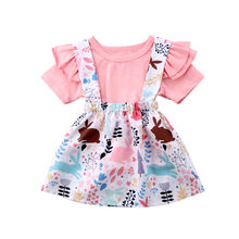 Kids Baby Girl Short Sleeve Tops T-shirt Animal & Flower Tut