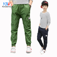 Kindstraum 2018 New Spring Boys Fashion Trousers Kids Solid Cargo Pants Cotton Children Autumn Casual Pants