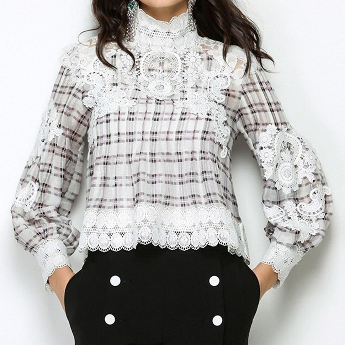 Mode femmes coton lin Floral broderie Blouses chemise blanche Boho ethnique à manches longues plaid chemises Vintage rétro décontracté hauts