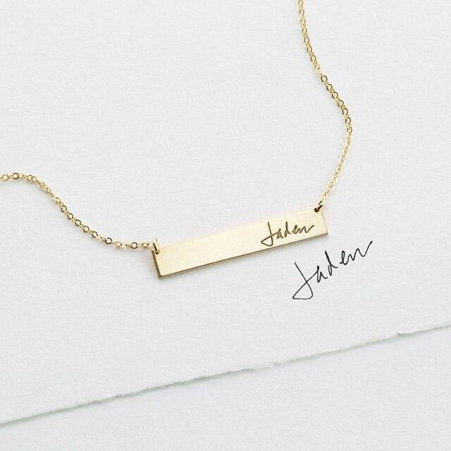 Ожерелье для рукописного ввода, настоящие украшения для рукописного ввода, ручная работа, Золотое заполнение, подвеска, чокер, женское украшение