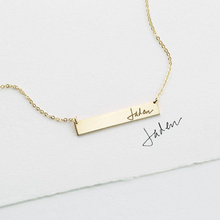 Handwriting Necklace Actual Handwriting Jewelry Handmade Gold Filled Necklace Bo